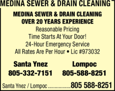 Yellow Pages Ad of Medina Sewer & Drain Cleaning