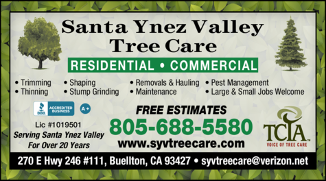 Yellow Pages Ad of Santa Ynez Valley Tree Care