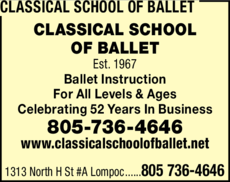 Yellow Pages Ad of Classical School Of Ballet