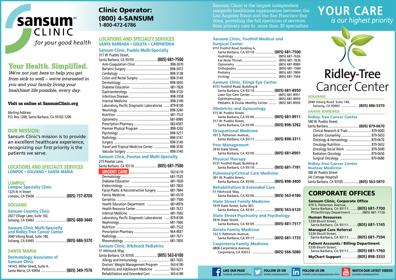 Yellow Pages Ad of Sansum Clinic