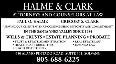 Yellow Pages Ad of Halme & Clark Attorneys At Law