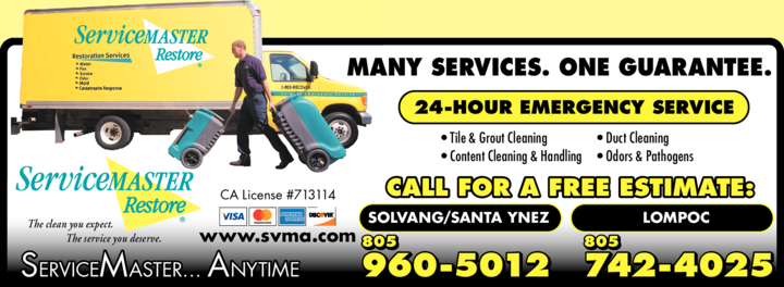 Yellow Pages Ad of Servicemaster Anytime