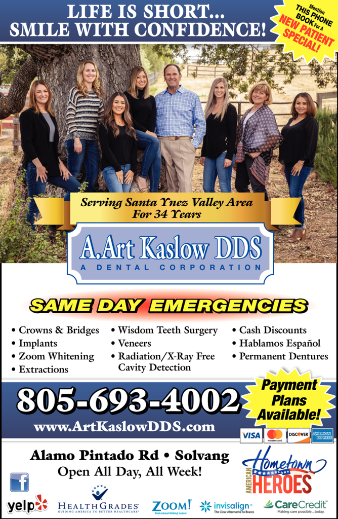 Yellow Pages Ad of Kaslow A Art Dds
