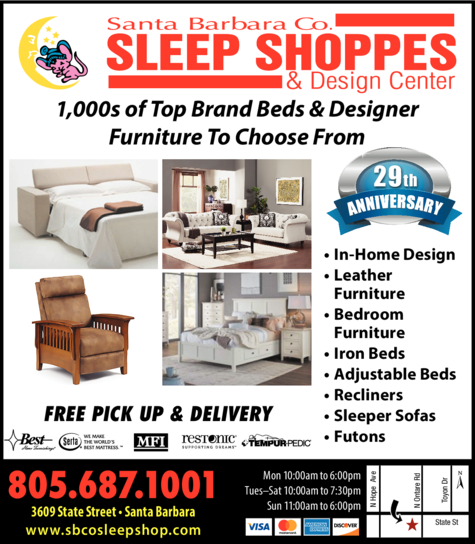 Yellow Pages Ad of Santa Barbara County Sleep Shoppes & Design Center