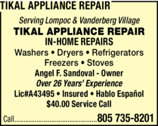 Yellow Pages Ad of Tikal Appliance Repair