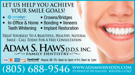 Yellow Pages Ad of Adam S Haws Dds Inc