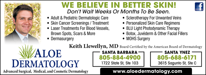 Yellow Pages Ad of Aloe Dermatology - Keith Llewellyn Md