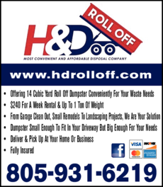 Yellow Pages Ad of H & D Roll Off