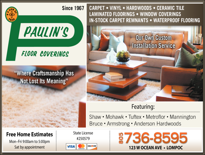 Yellow Pages Ad of Paulin's Floor Coverings