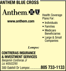 Yellow Pages Ad of Anthem Blue Cross
