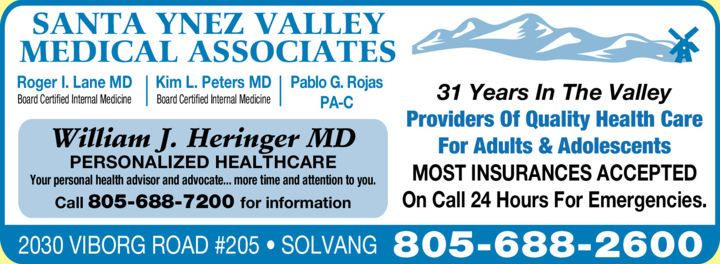 Yellow Pages Ad of Santa Ynez Valley Medical Associates