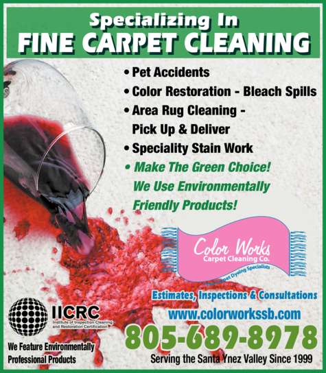 Yellow Pages Ad of Color Works Carpet Cleaning Co