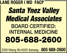 Yellow Pages Ad of Lane Roger I Md Facp