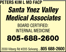 Yellow Pages Ad of Peters Kim L Md Facp