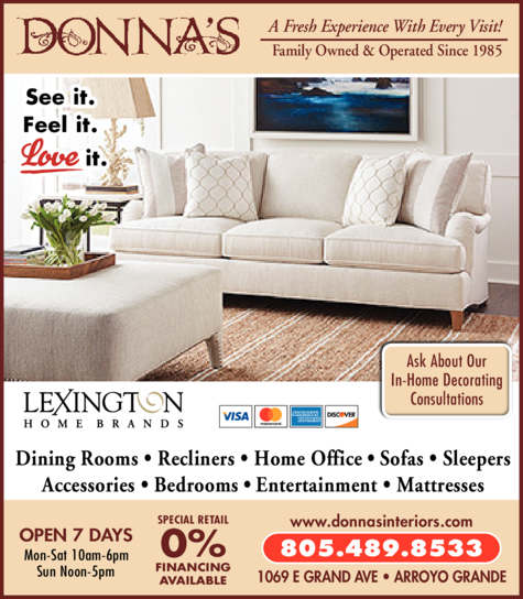 Yellow Pages Ad of Donna's Interior Furniture & Designs Inc