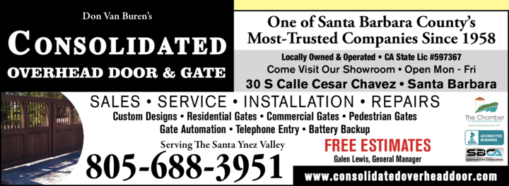 Yellow Pages Ad of Consolidated Overhead Door & Gate