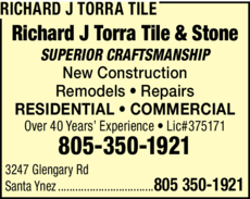 Yellow Pages Ad of Richard J Torra Tile