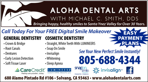 Print Ad of Aloha Dental Arts With Michael C Smith