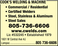Yellow Pages Ad of Cook's Welding & Machine