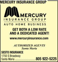 Yellow Pages Ad of Mercury Insurance Group
