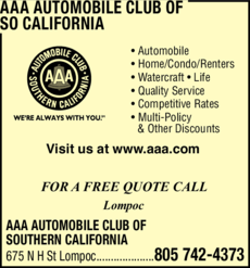 Yellow Pages Ad of Aaa Automobile Club Of Southern California
