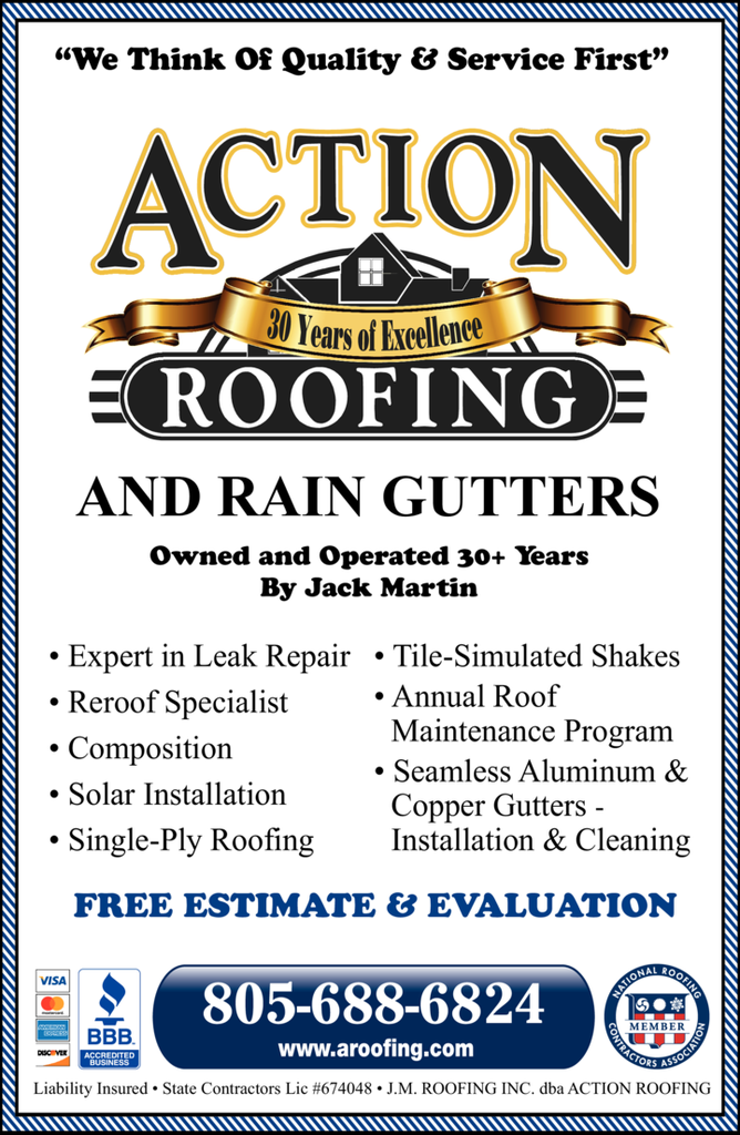 Yellow Pages Ad of Action Roofing