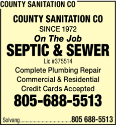 Yellow Pages Ad of County Sanitation Co