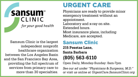 Yellow Pages Ad of Sansum Clinic Urgent Care
