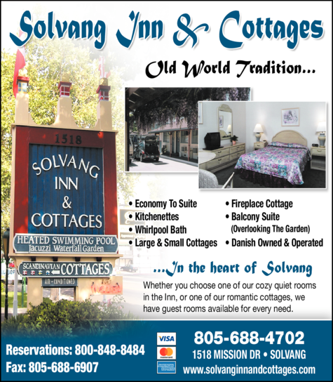 Yellow Pages Ad of Solvang Inn & Cottages