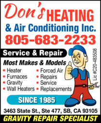 Yellow Pages Ad of Don's Heating & Air Conditioning Inc