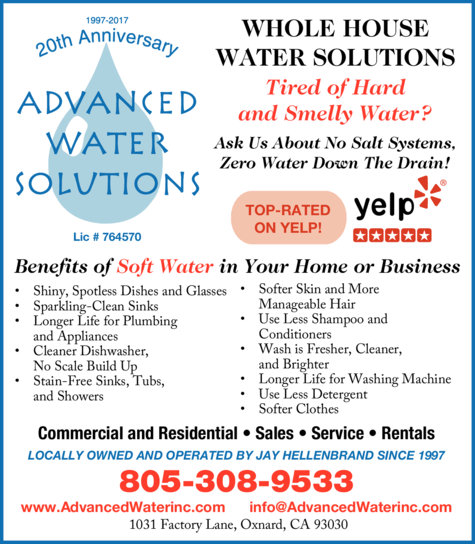 Yellow Pages Ad of Advanced Water Solutions