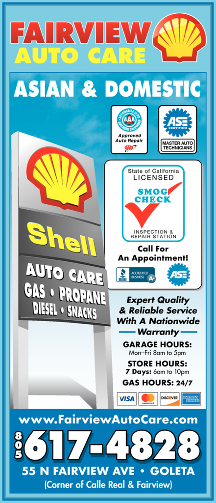 Yellow Pages Ad of Fairview Shell Auto Care