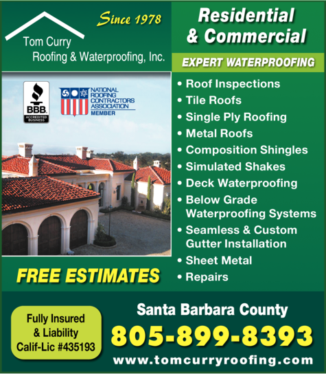 Yellow Pages Ad of Tom Curry Roofing & Waterproofing Inc