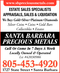 Yellow Pages Ad of Santa Barbara Precious Metals
