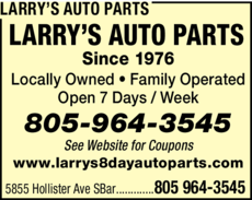 Yellow Pages Ad of Larry's Auto Parts