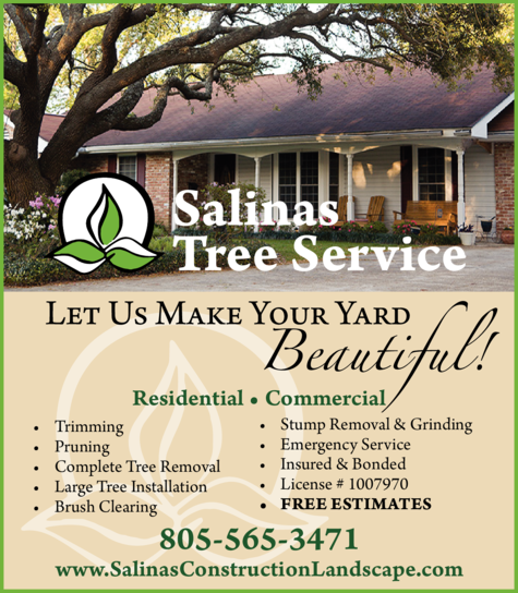 Yellow Pages Ad of Salinas Tree Service