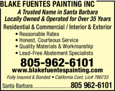 Yellow Pages Ad of Blake Fuentes Painting Inc