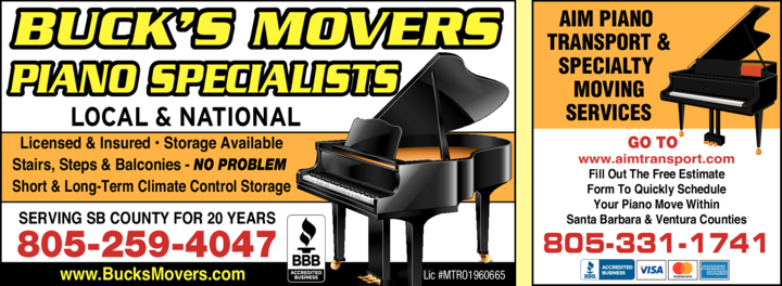 Yellow Pages Ad of Aim Piano Transport