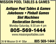 Print Ad of Mission Pool Tables & Games