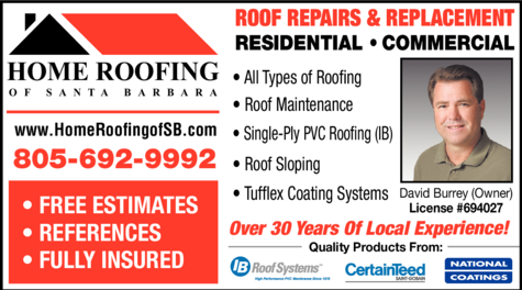 Yellow Pages Ad of Home Roofing Of Santa Barbara