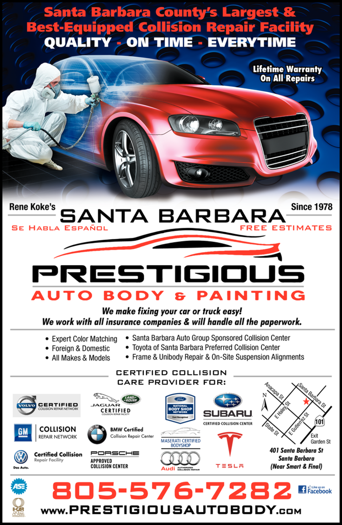 Yellow Pages Ad of Prestigious Auto Body & Paint