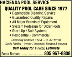 Yellow Pages Ad of Hacienda Pool Service