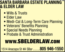 Yellow Pages Ad of Santa Barbara Estate Planning & Elder Law