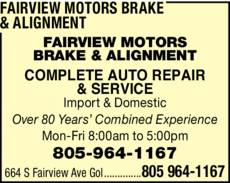 Yellow Pages Ad of Fairview Motors Brake & Alignment