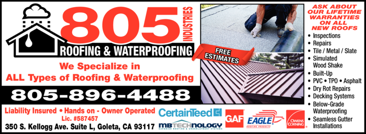 Yellow Pages Ad of 805 Industries - Roofing & Waterproofing