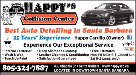 Yellow Pages Ad of Happy's Collision Center