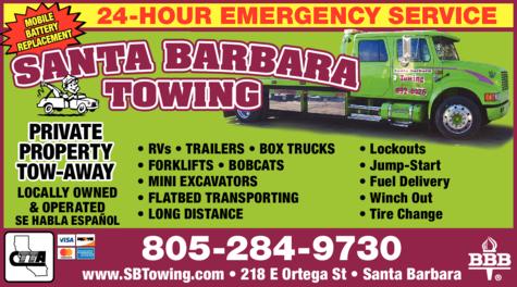 Yellow Pages Ad of Santa Barbara Towing