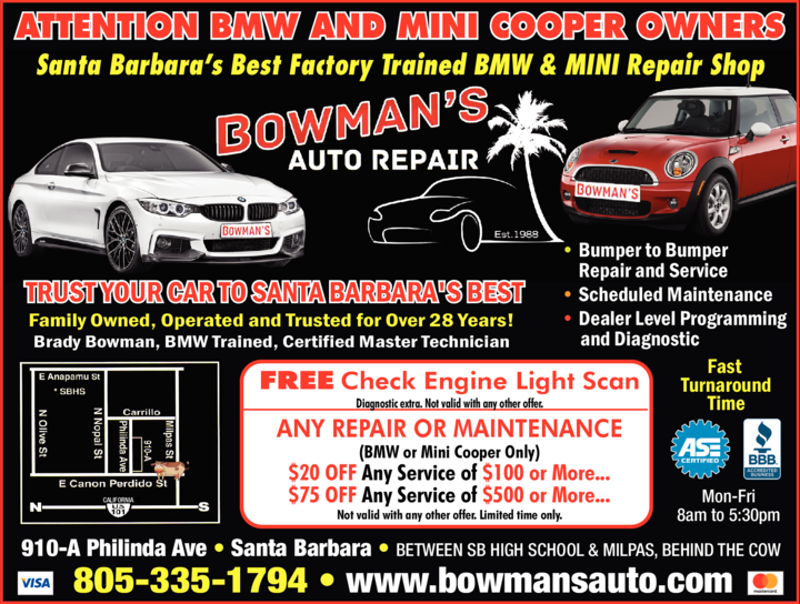 Yellow Pages Ad of Bowman's Auto Repair