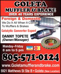 Yellow Pages Ad of Goleta Muffler & Brake