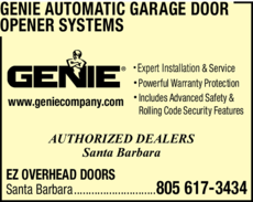 Yellow Pages Ad of Genie Automatic Garage Door Opener Systems
